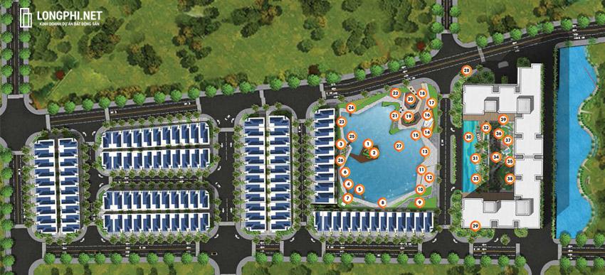 Sơ đồ phân bổ tiện ích trong dự án căn hộ Green Star Sky Garden quận 7.