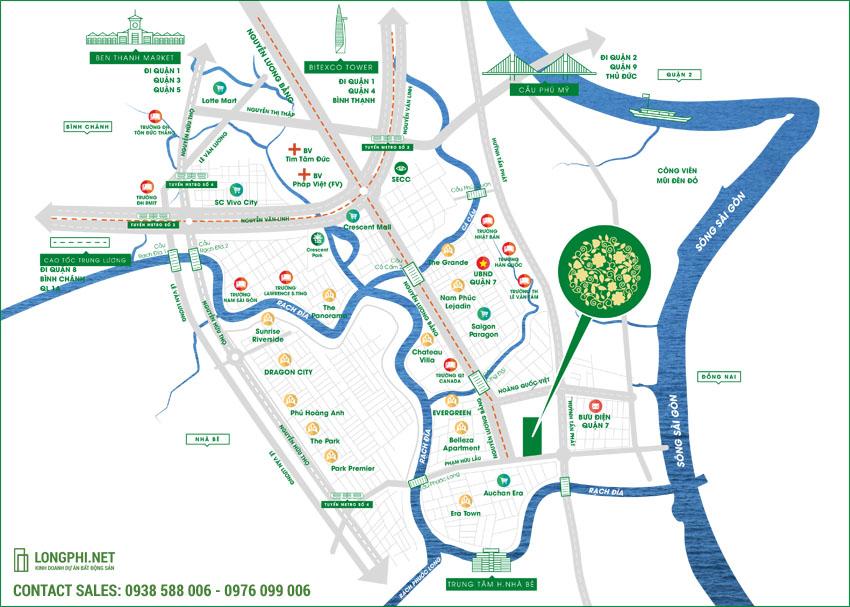 Bản đồ vị trí dự án khu căn hộ Green Star Sky Garden quận 7 - Hưng Lộc Phát.