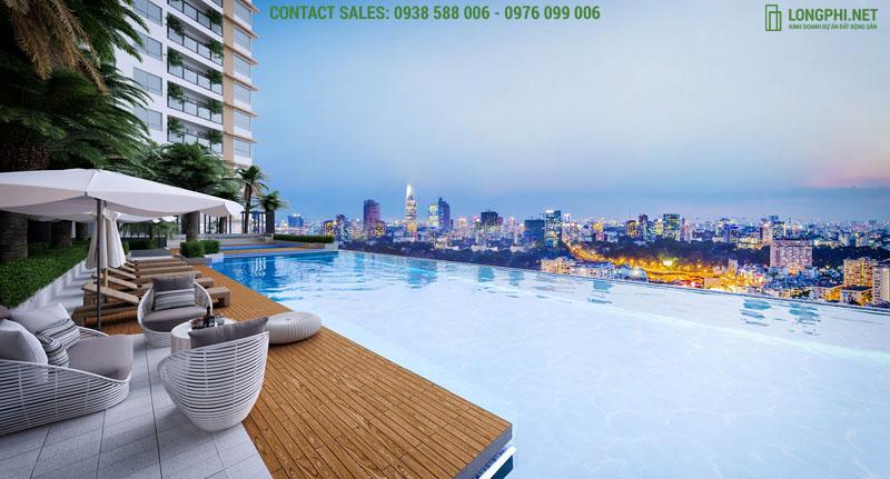 Tiện ích hồ bơi chân mây Skyview độc đáo tại dự án căn hộ Green Star Sky Garden quận 7.
