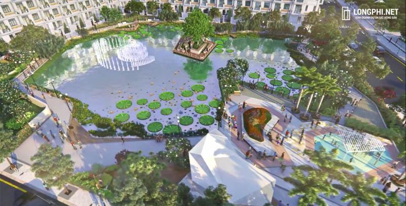 Một góc phối cảnh hồ cảnh quan dự án Green Star Sky Garden quận 7.