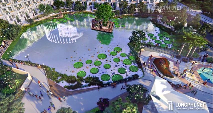 Phối cảnh hồ thiên đường trong công viên nôi khu Lunar Park dự án Green Star quận 7 - Hưng Lộc Phát.