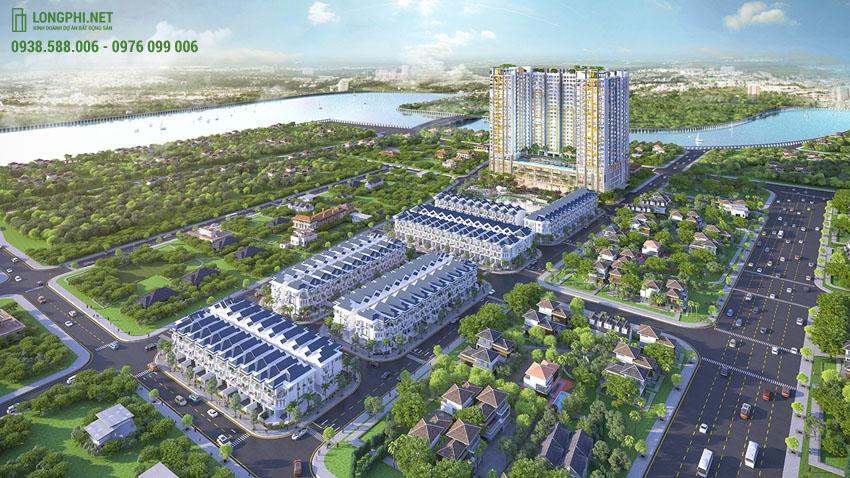 Ảnh phối cảnh tổng thể dự án căn hộ Green Star Sky Garden quận 7 từ trên cao.