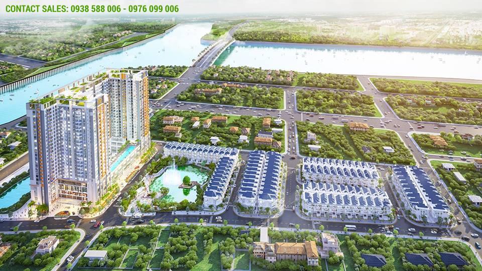 Một ảnh phối cảnh khác của Green star Sky Garden quận 7 của chủ đầu tư Hưng Lộc Phát, nhìn từ trên cao.