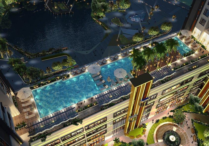 Du an Green Star Sky Garden quan 7: phối cảnh hồ bơi từ trên cao.