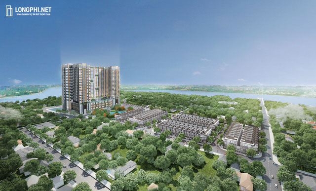 Phối cảnh tổng thể khu căn hộ Green Star quận 7 trong khu dân cư tại đường Nguyễn Lương Bằng.