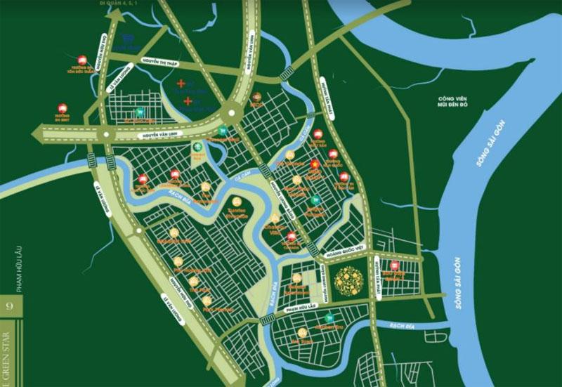 Vị trí khu căn hộ Green Star quận 7 trong tại khu Nam Sài Gòn.