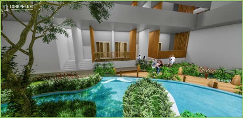Vườn cảnh nhiệt đới và thác nước điều hòa trong lòng toà nhà dự án Green Star Sky Garden.