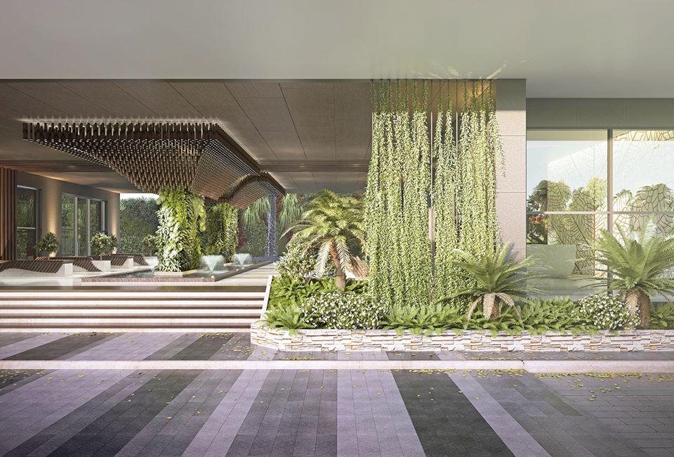 Phối cảnh vườn treo xanh mát trong dự án Green Star Sky Garden quận 7.