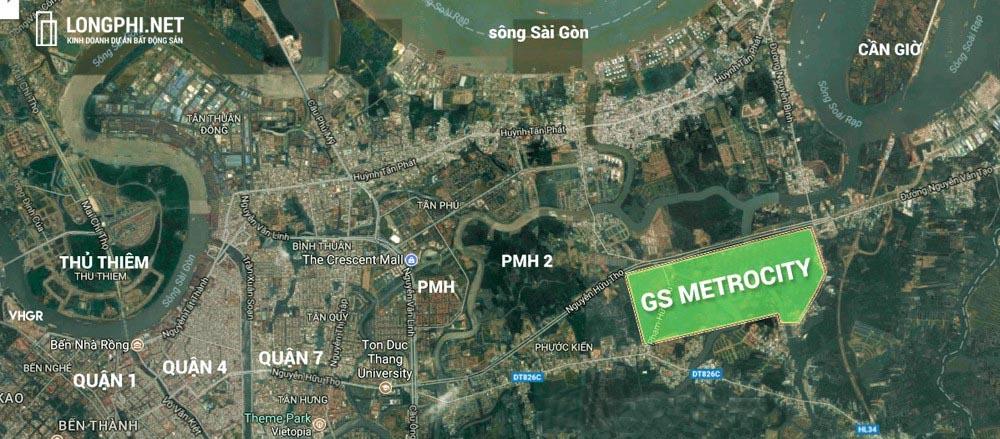 Vị trí dự án GS Metrocity Nhà Bè tại đường Nguyễn Hữu Thọ.