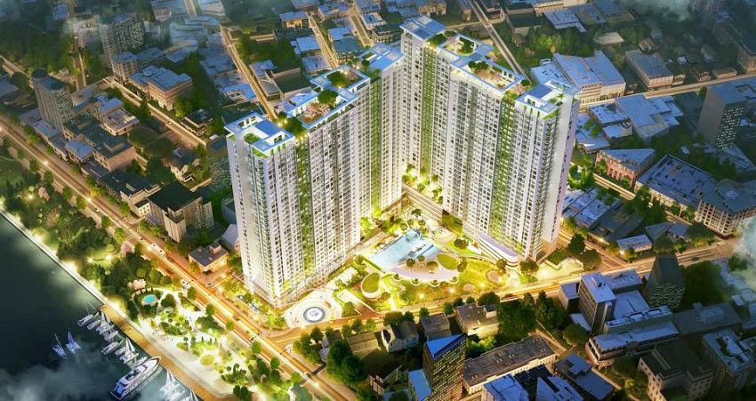 Phối cảnh tổng thể dự án căn hộ Charmington Iris quận 4: số 76 Tôn Thất Thuyết, Q4.