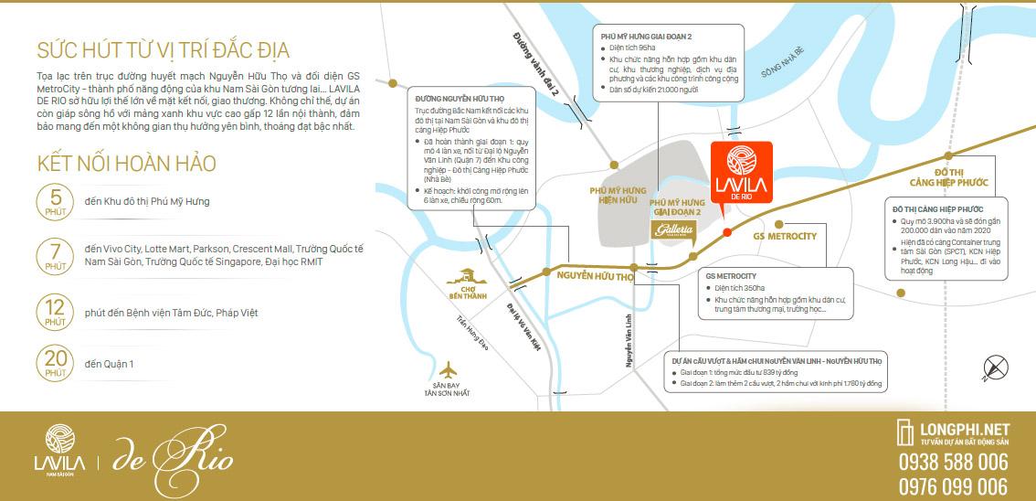 Đồ họa bản đồ vị trí của Lavila De Rio Nhà Bè.