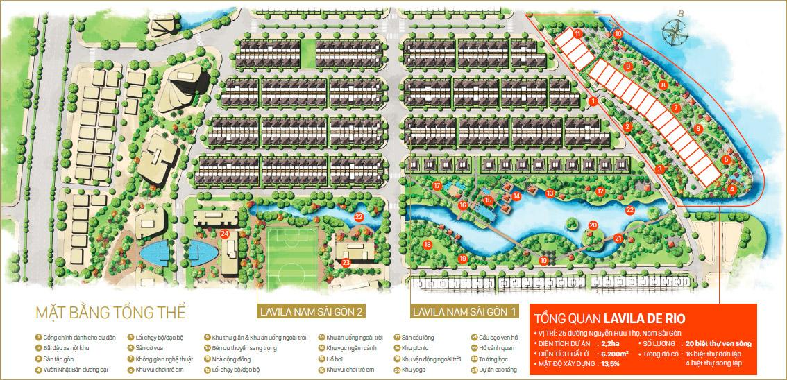 Bản đồ phân lô biệt thự Lavila De Rio Kiến Á.