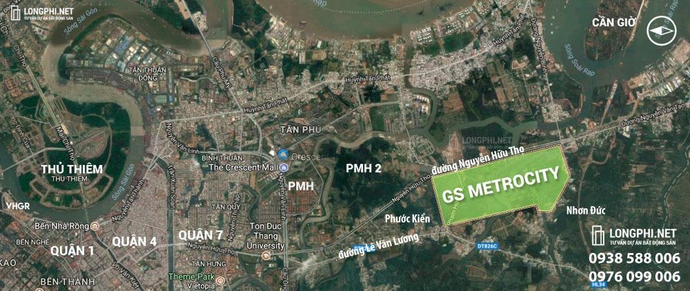 Vị trí dự án khu đô thị GS Metrocity Nhà Bè.
