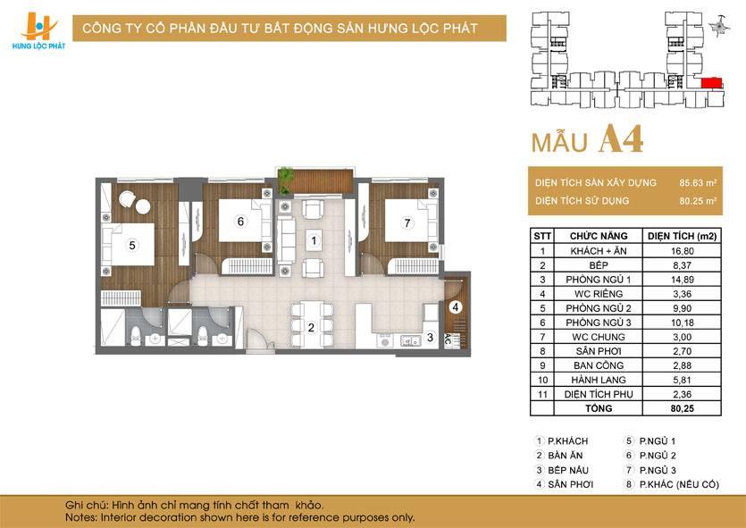 Căn hộ 3 phòng ngủ Green Star Sky Garden quận 7: loại A4.