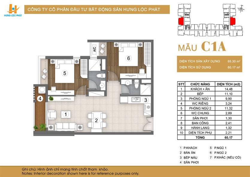Căn hộ 2 phòng ngủ + 2 vệ sinh Green Star Sky Garden Q7: loại mẫu căn C1A.