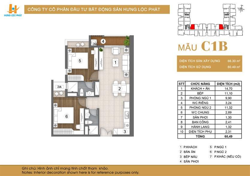 Căn hộ 2PN + 2WC dự án Green Star Sky Garden Q7: loại mẫu căn C1B.