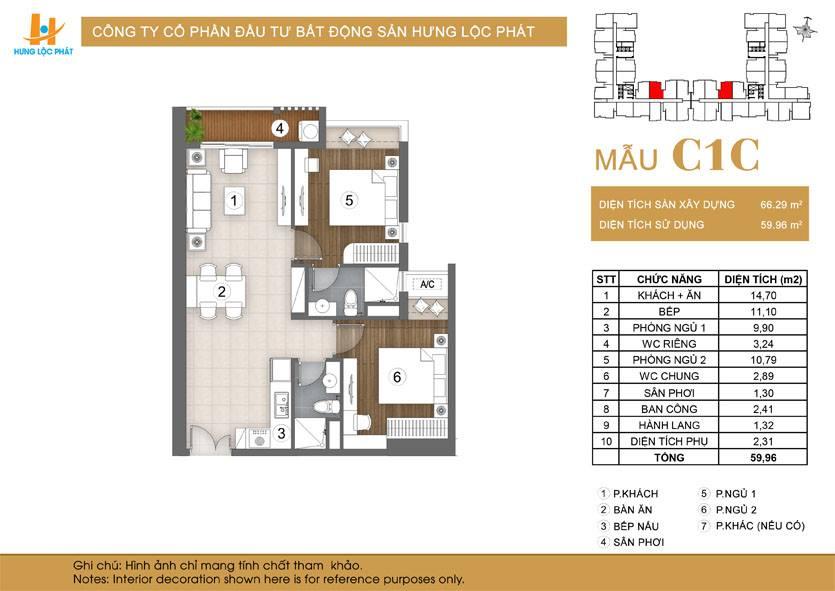 Căn hộ 2 phòng ngủ 2 phòng tắm dự án Green Star Sky Garden Q7: loại mẫu căn C1C.