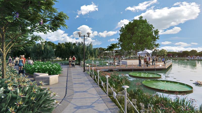 Một góc trong khu công viên nội khu Green Star bên dưới và hồ cảnh quan.