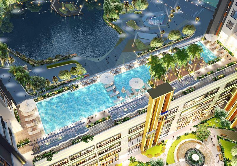 Hồ bơi Sky View độc đáo tại căn hộ Green Star Sky Garden quận 7.