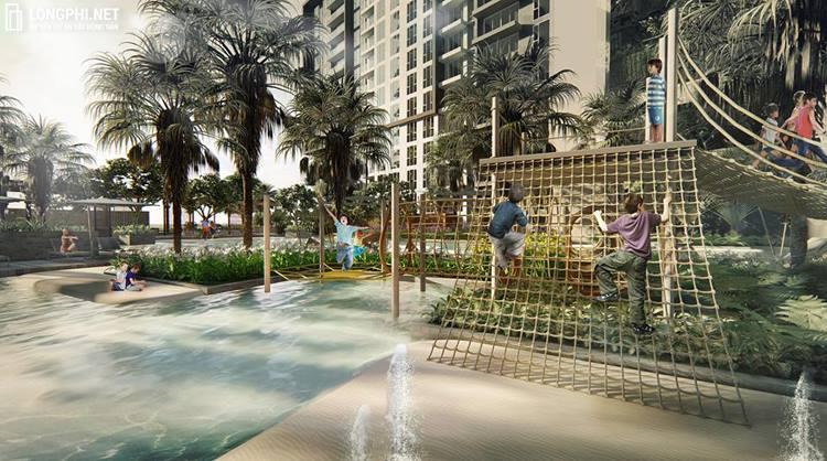 Một góc khu vườn nhiệt đới bên trong dự án dành cho trẻ em tại căn hộ The Infiniti Q7.