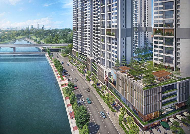 Phối cảnh khối đế thương mại tại dự án khu phức hợp Riviera Point quận 7.