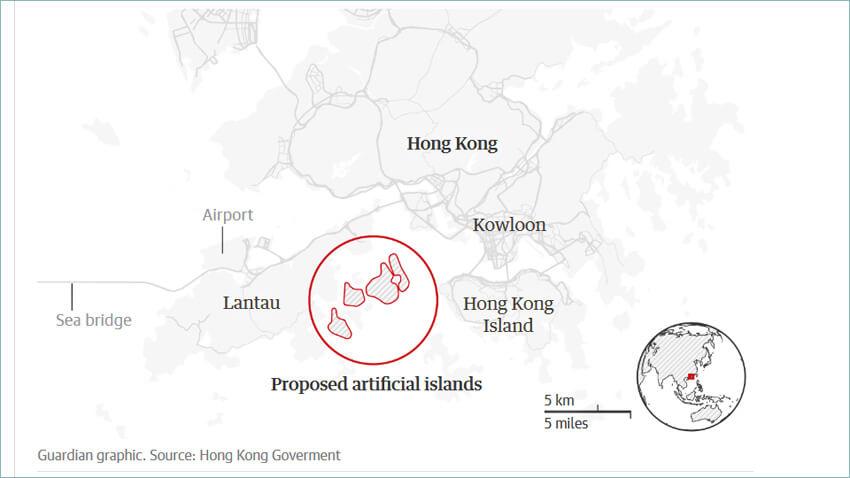 Bản đồ phác họa vị trí dự kiến của khu vực sẽ xây đảo nhân tạo tại Hong Kong.