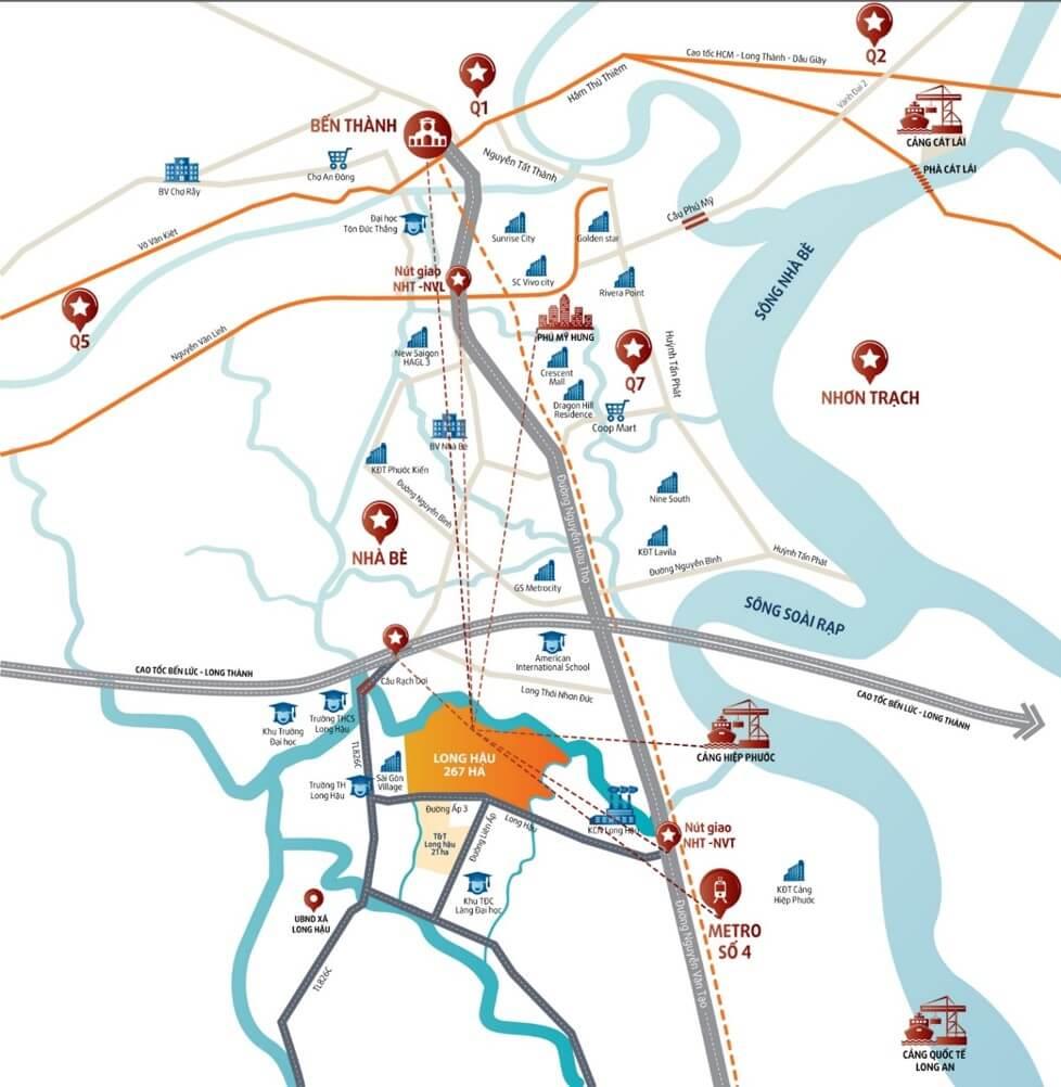 Bản đồ liên kết vùng dự án T&T Millennia City Long An.