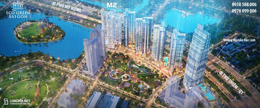 Phối cảnh tòa nhà tháp M2 trong tổng thể dự án Ecogreen SaiGon quận 7.