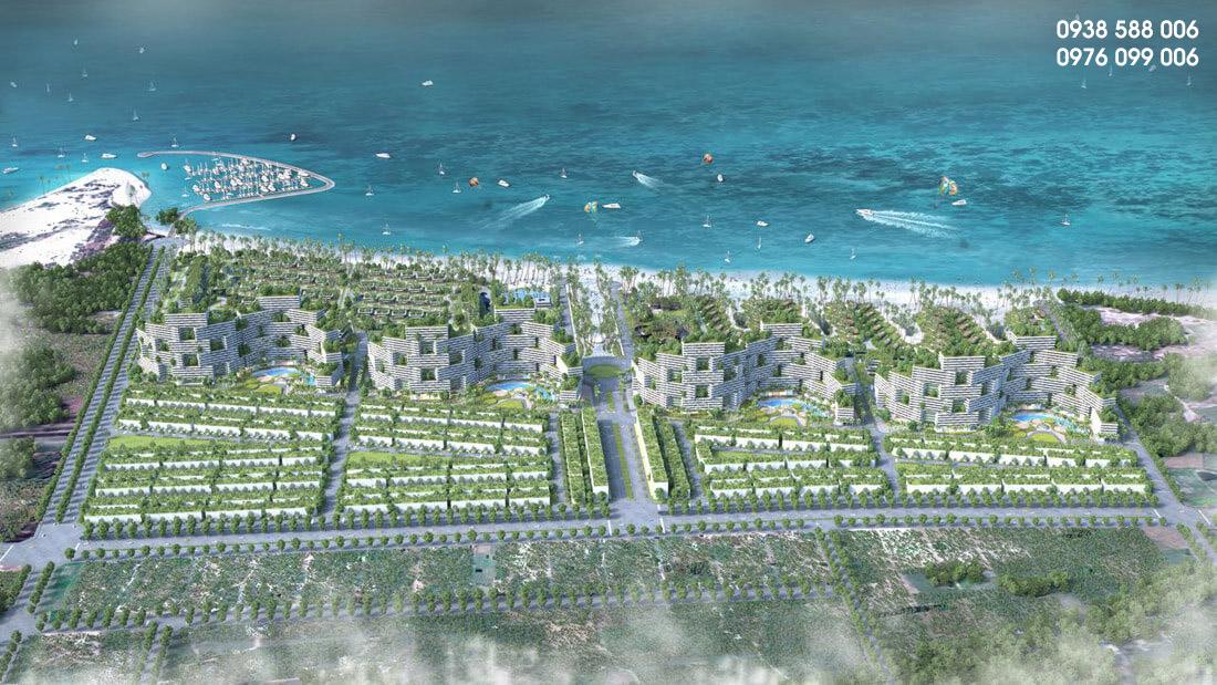 Ảnh phối cảnh dự án Thanh Long Bay góc nhìn từ trên cao, bên dưới là căn hộ biển và nhà phố tương mại biển.