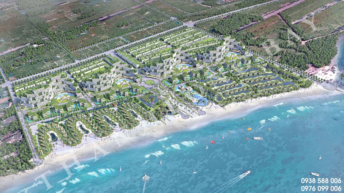 Phối cảnh tổng thể dự án căn hộ biển và nhà phố thương mại biển Thanh Long Bay, Phan Thiết.