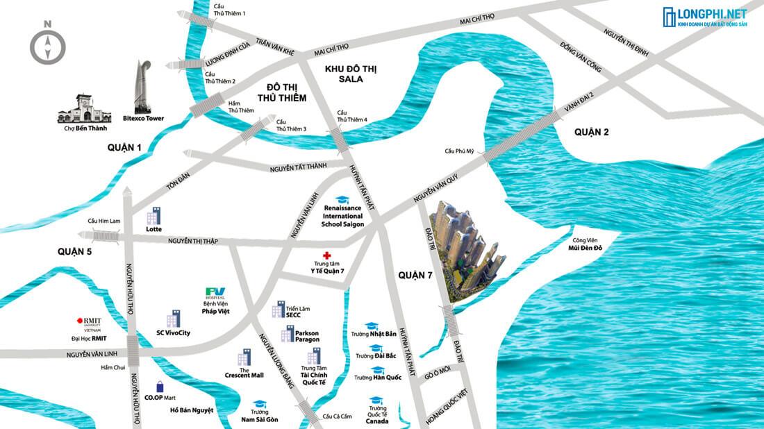 Bản đồ vị trí và liên kết vùng của dự án Sunshine Diamond River quận 7.