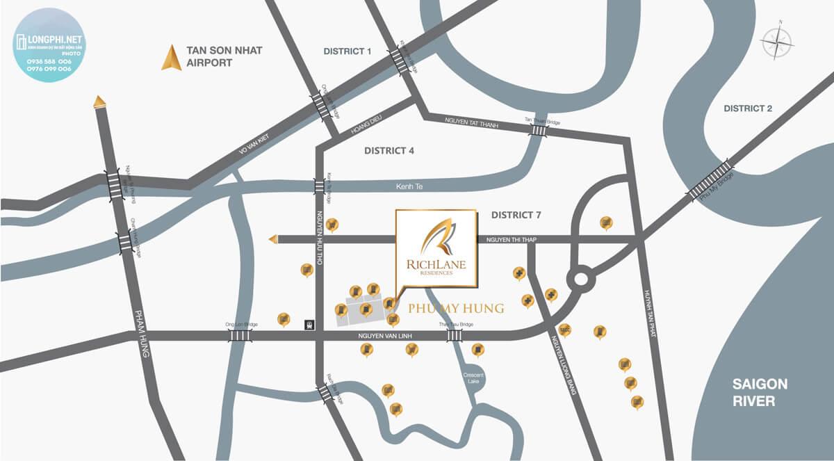 Bản đồ vị trí dự án RichLane Residences quận 7 của Mapletree.