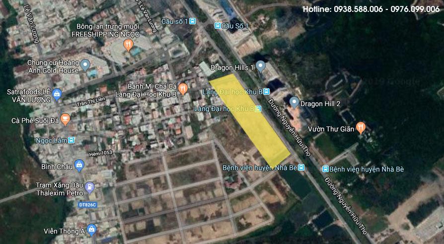 Bản đồ vị trí khu đất dự án Celesta Rise - Nhà Bè mà liên doanh Keppel Land sẽ triển khai dự án.