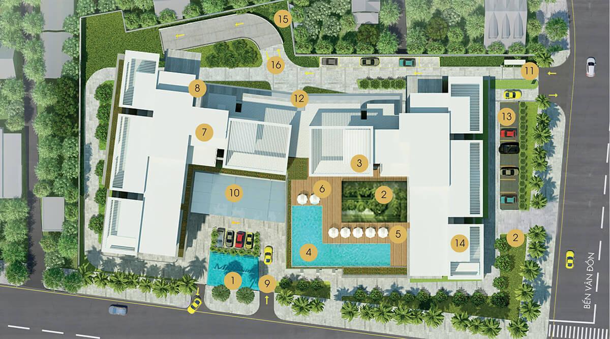Mặt bằng tiện ích dự án căn hộ Millennium quận 4.